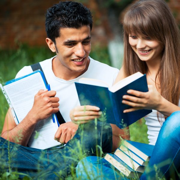 Two students studying in park on grass